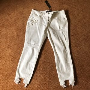 Denim - Distressed white jeans